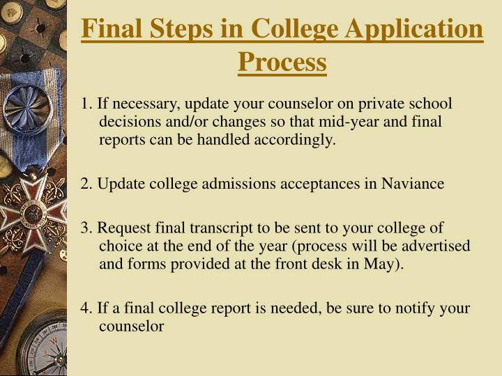 Final Steps in College Application Process