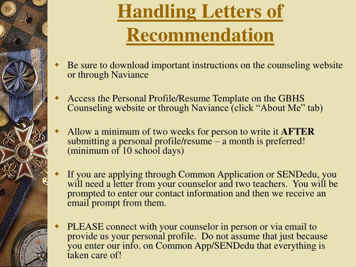 Handling Letters of Recommendation