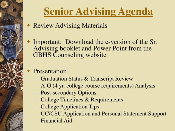 Senior Advising Agenda