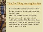 tips for filling out application