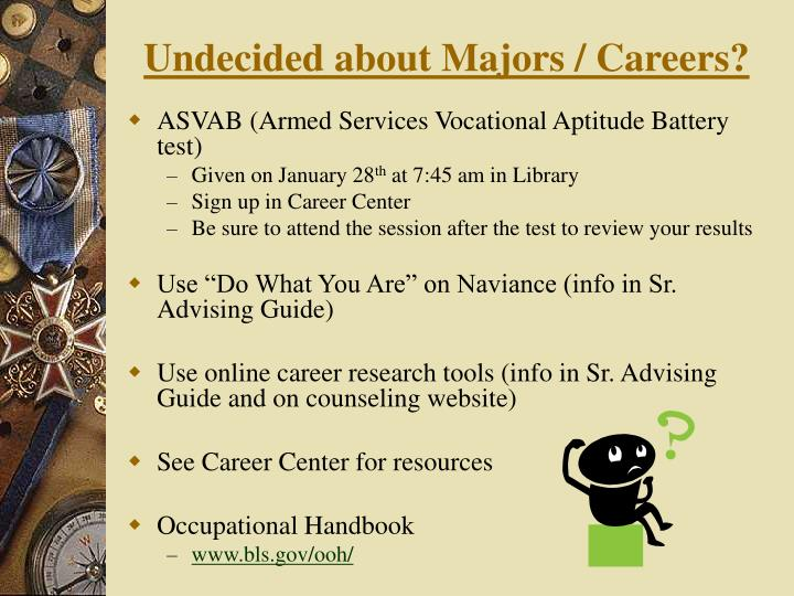 Undecided about Majors / Careers?
