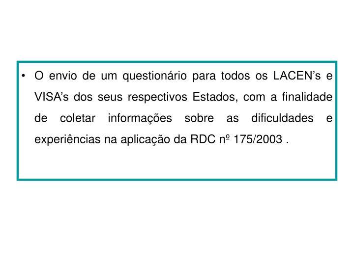 O envio de um questionário para todos os LACEN's e VISA's dos seus respectivos Estados, com a finalidade de coletar informações sobre as dificuldades e experiências na aplicação da RDC nº 175/2003 .