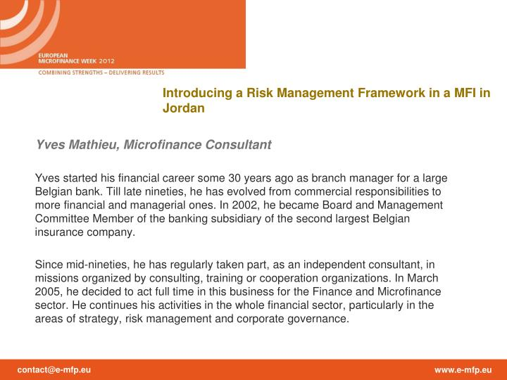 Introducing a Risk Management Framework in a MFI in Jordan