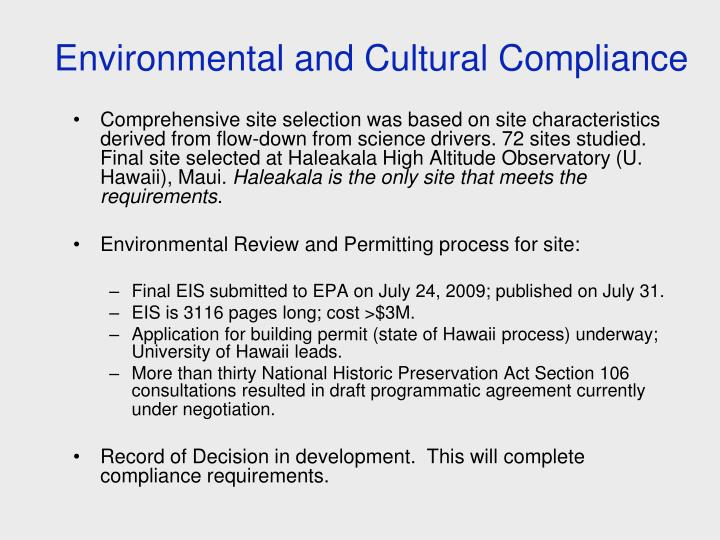 Environmental and Cultural Compliance