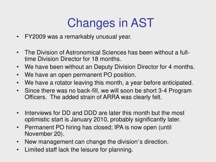 Changes in AST