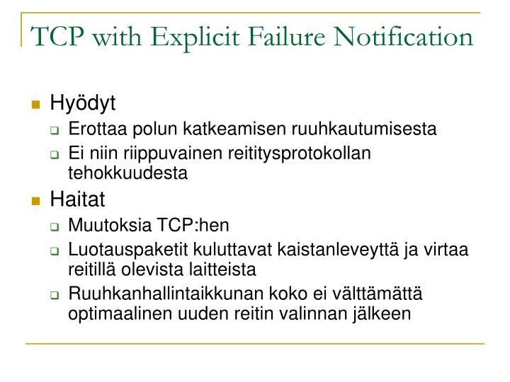 TCP with Explicit Failure Notification
