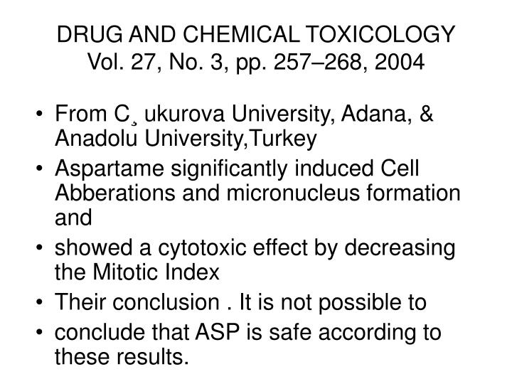 DRUG AND CHEMICAL TOXICOLOGY