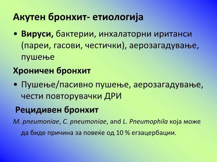 Акутен бронхит- етиологија