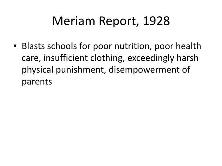 Meriam Report, 1928