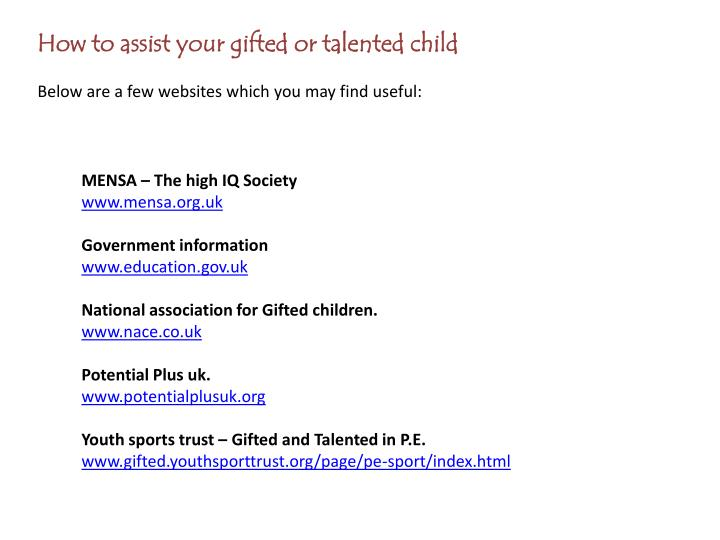 How to assist your gifted or talented child