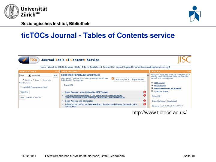 ticTOCs Journal - Tables of Contents service