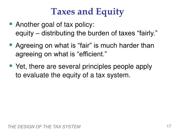 Taxes and Equity