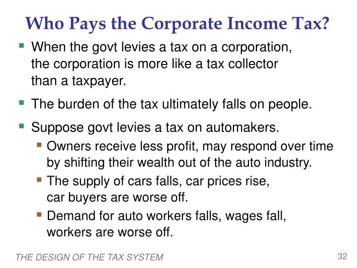 Who Pays the Corporate Income Tax?