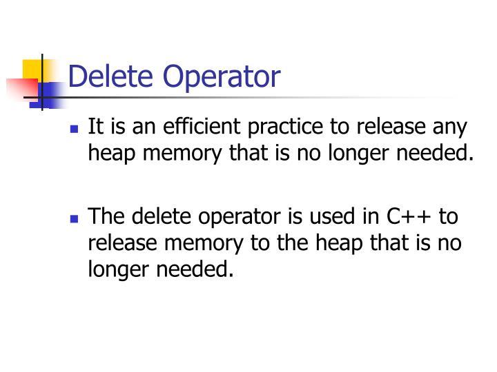 Delete Operator