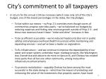 city s commitment to all taxpayers