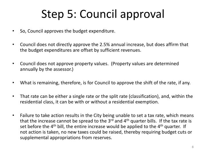 Step 5: Council approval