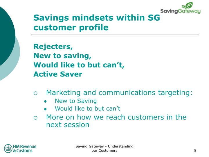 Savings mindsets within SG customer profile