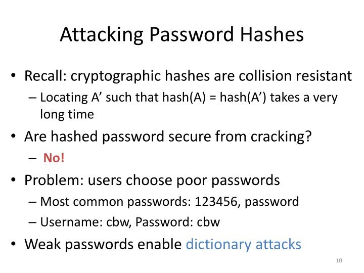Attacking Password Hashes
