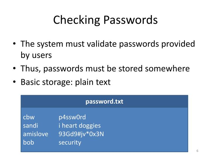 Checking Passwords