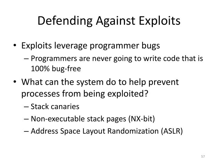 Defending Against Exploits