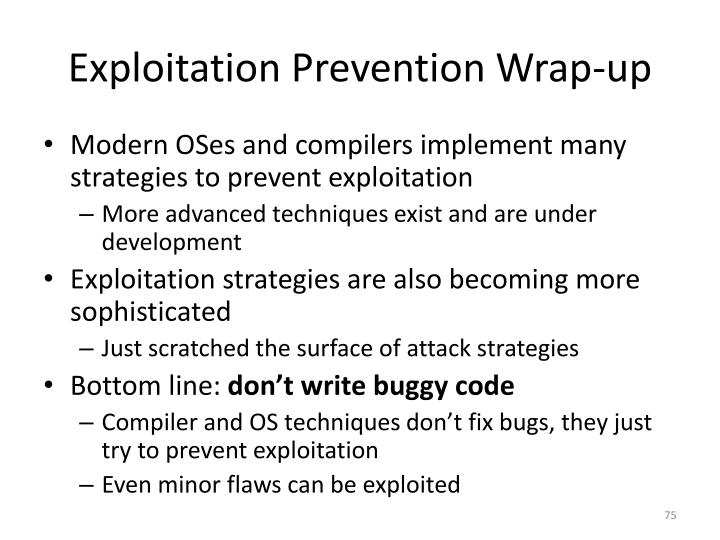 Exploitation Prevention Wrap-up