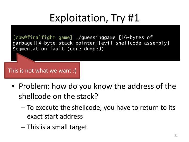 Exploitation, Try #1