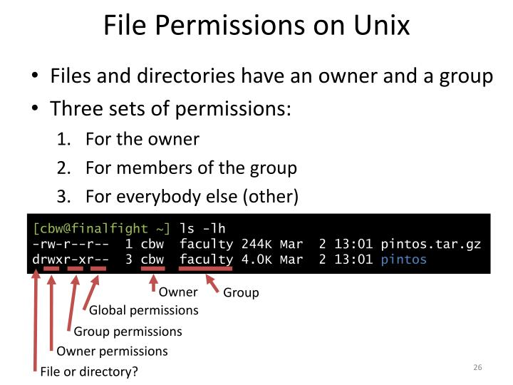 File Permissions on Unix