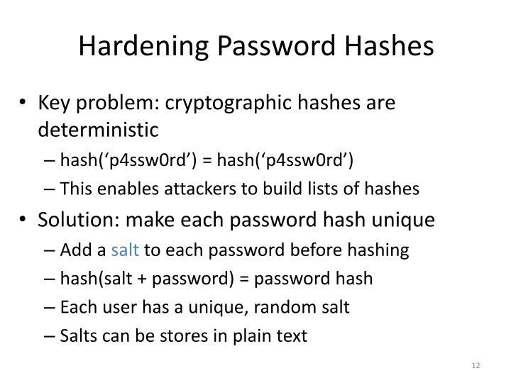 Hardening Password Hashes