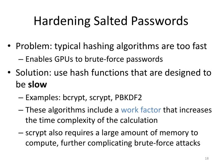 Hardening Salted Passwords