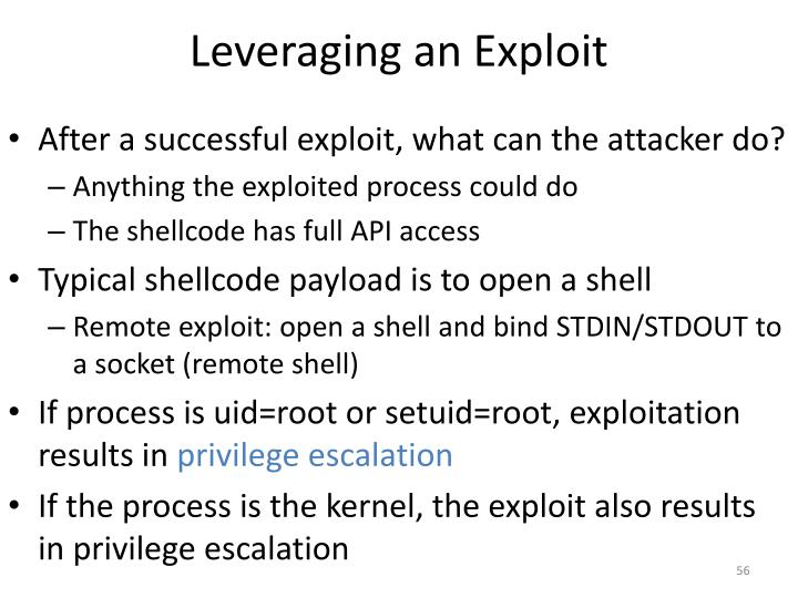 Leveraging an Exploit