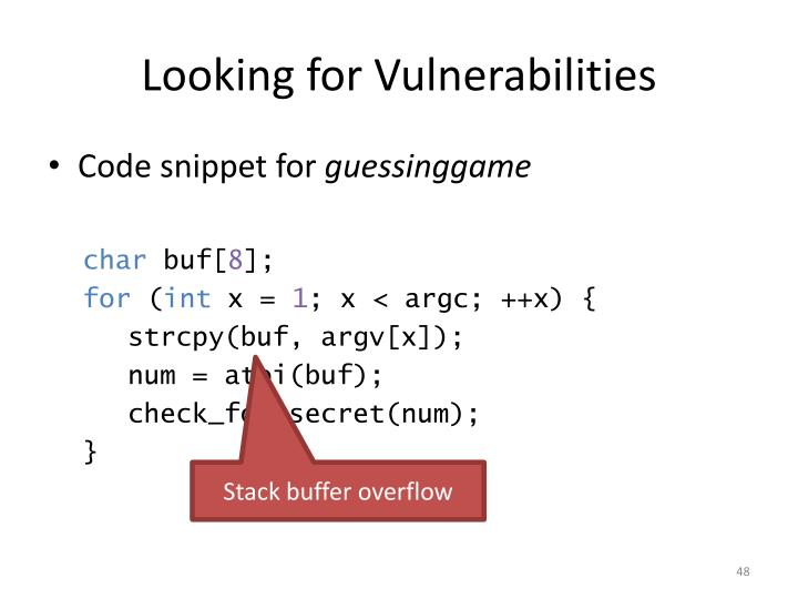 Looking for Vulnerabilities