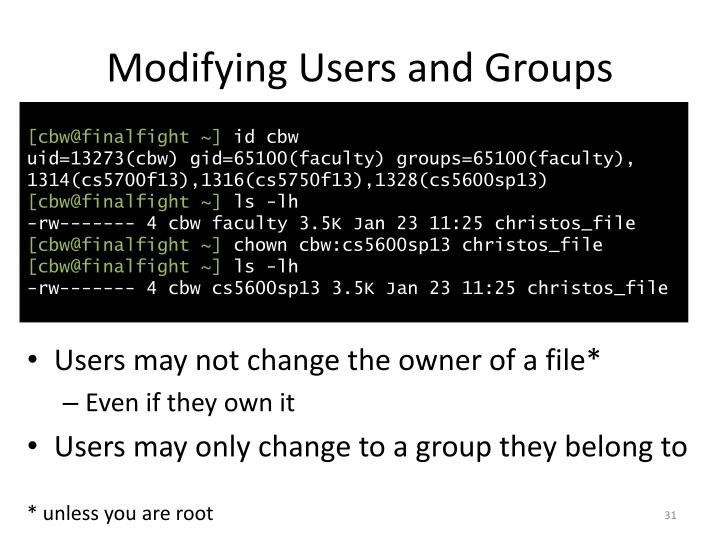Modifying Users and Groups