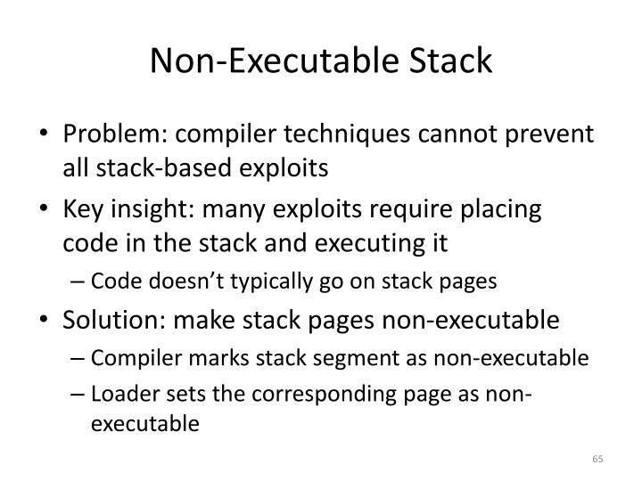 Non-Executable Stack