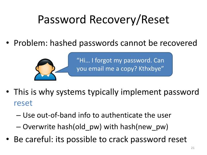Password Recovery/Reset