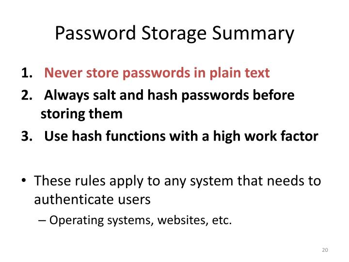 Password Storage Summary