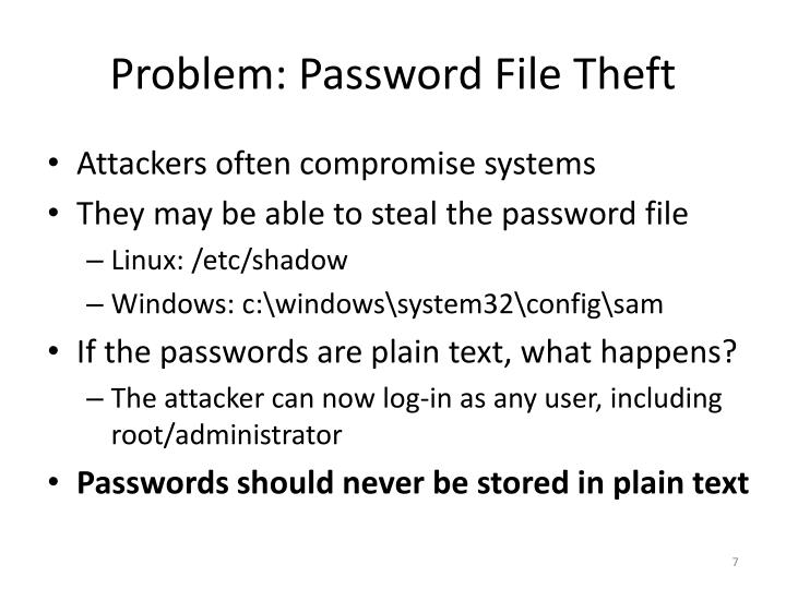 Problem: Password File Theft