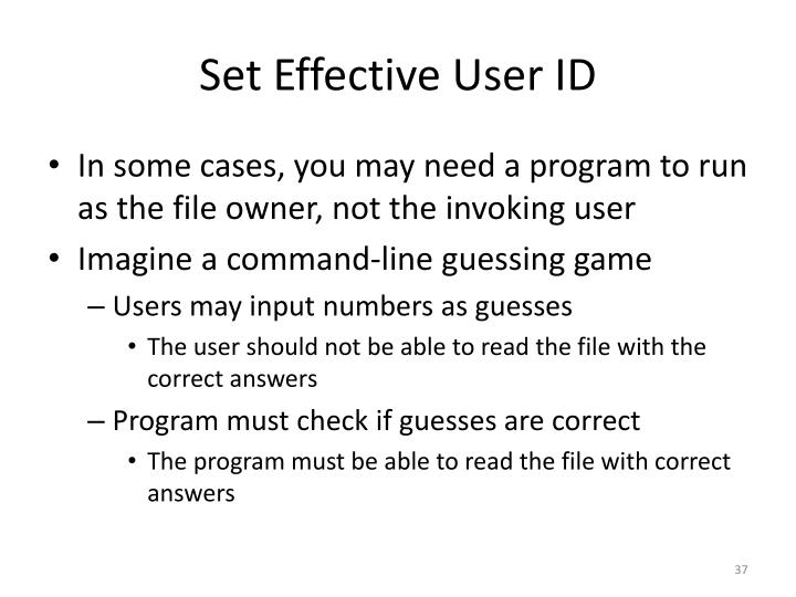 Set Effective User ID