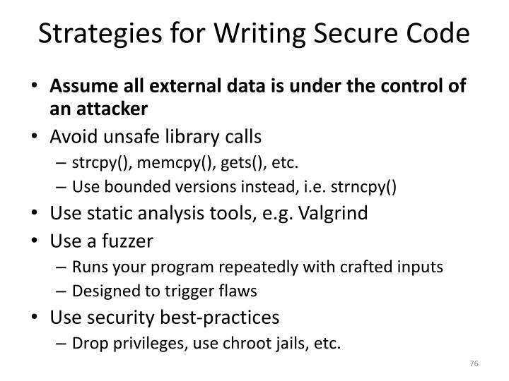 Strategies for Writing Secure Code