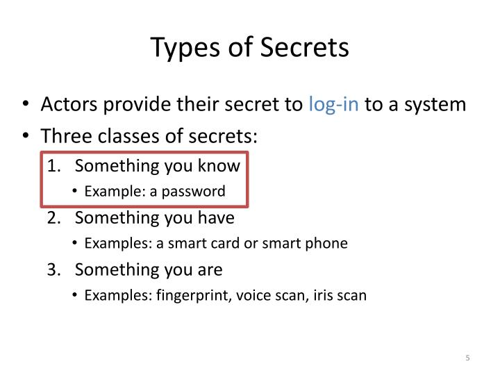 Types of Secrets