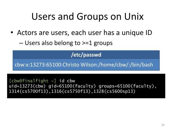 Users and Groups on Unix