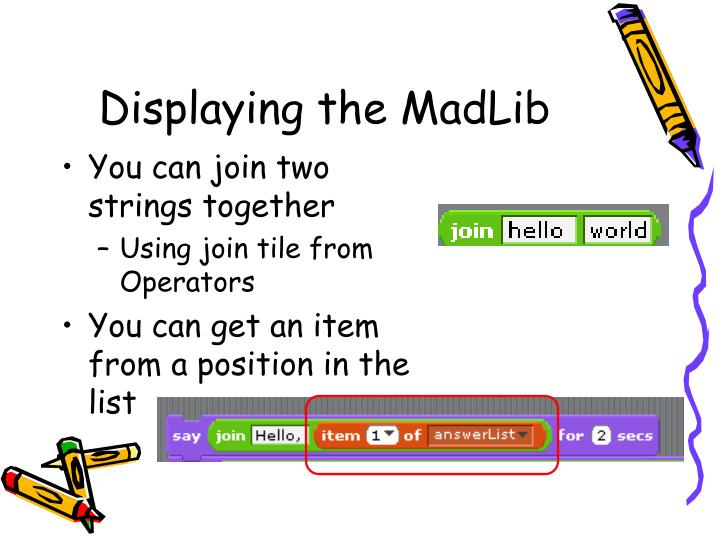 Displaying the MadLib