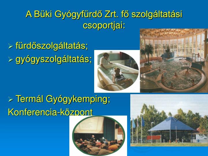 A Büki Gyógyfürdő Zrt. fő szolgáltatási csoportjai: