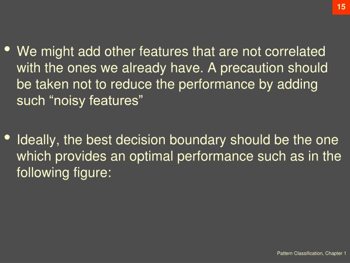 "We might add other features that are not correlated with the ones we already have. A precaution should be taken not to reduce the performance by adding such ""noisy features"""