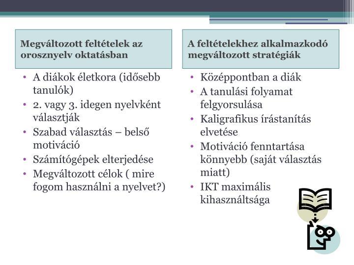 Megváltozott feltételek az orosznyelv oktatásban