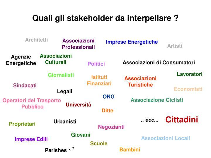 Quali gli stakeholder da interpellare ?
