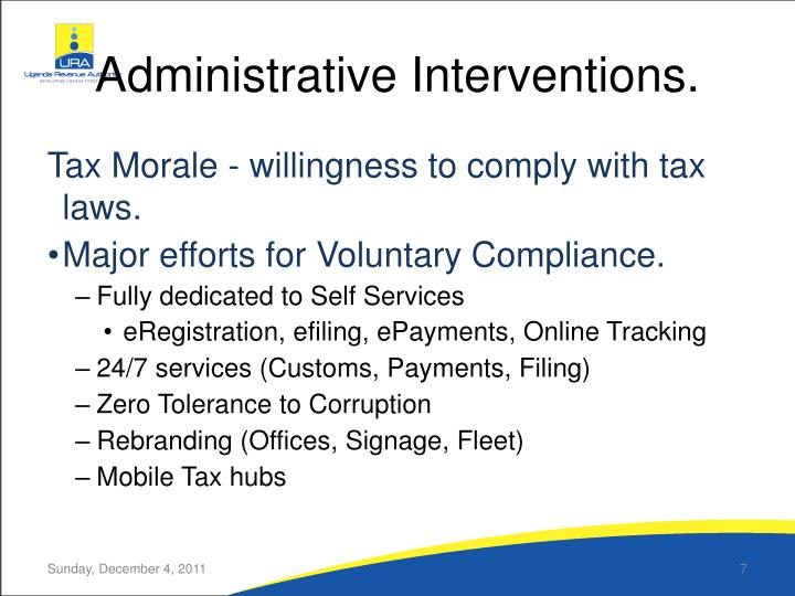 Administrative Interventions.