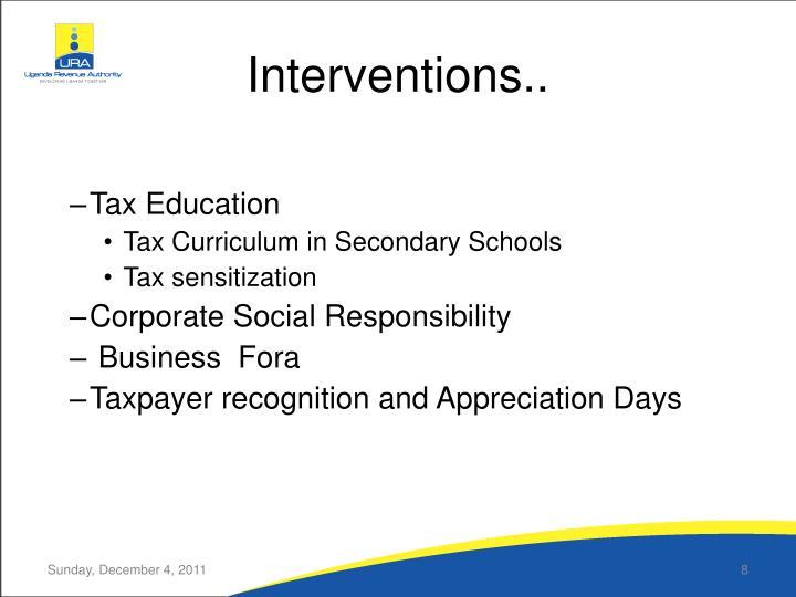 Interventions..