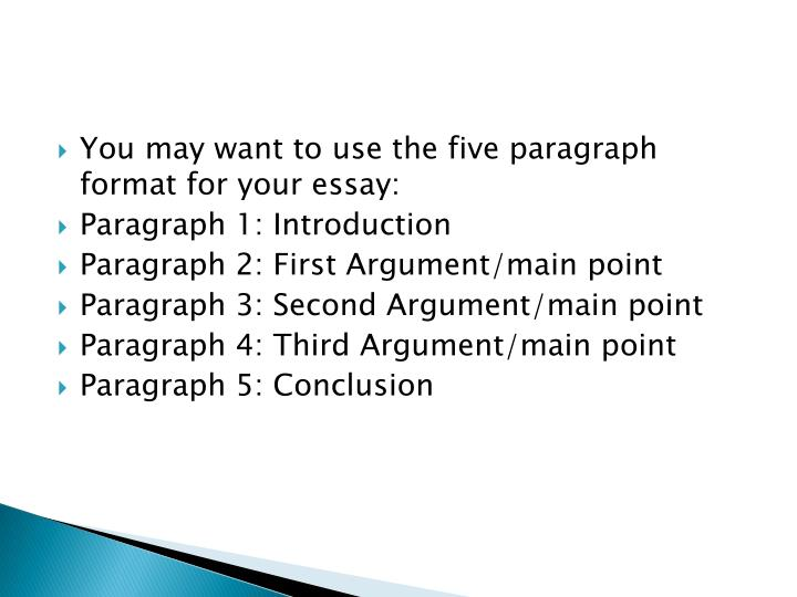You may want to use the five paragraph format for your essay: