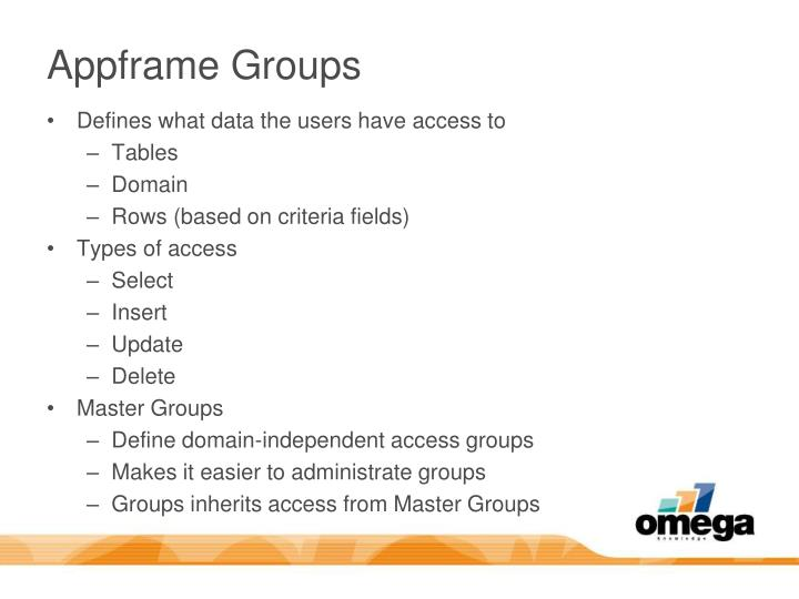 Appframe Groups
