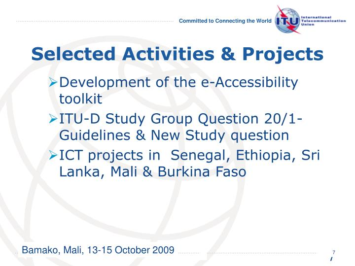 Selected Activities & Projects